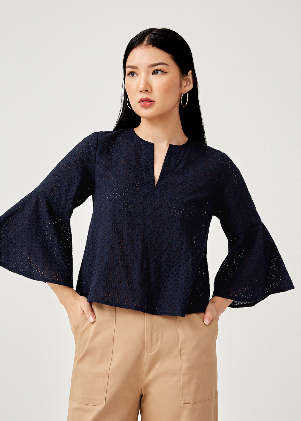 Lisa Broderie Anglaise Flare Sleeve Top