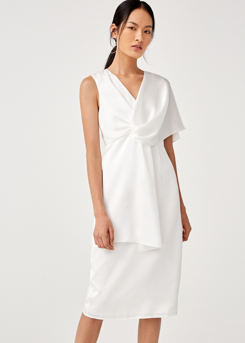 Cleobella Satin Asymmetrical Midi Dress