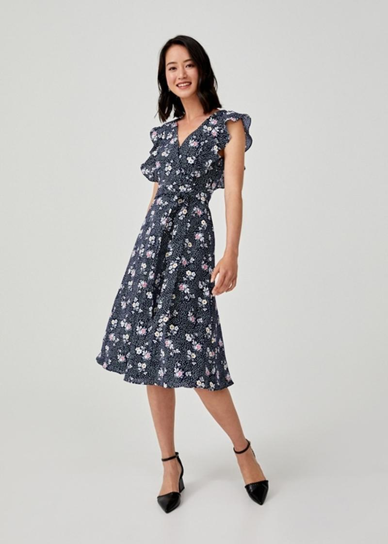 Eliza Sash Tie Ruffle Sleeve Dress