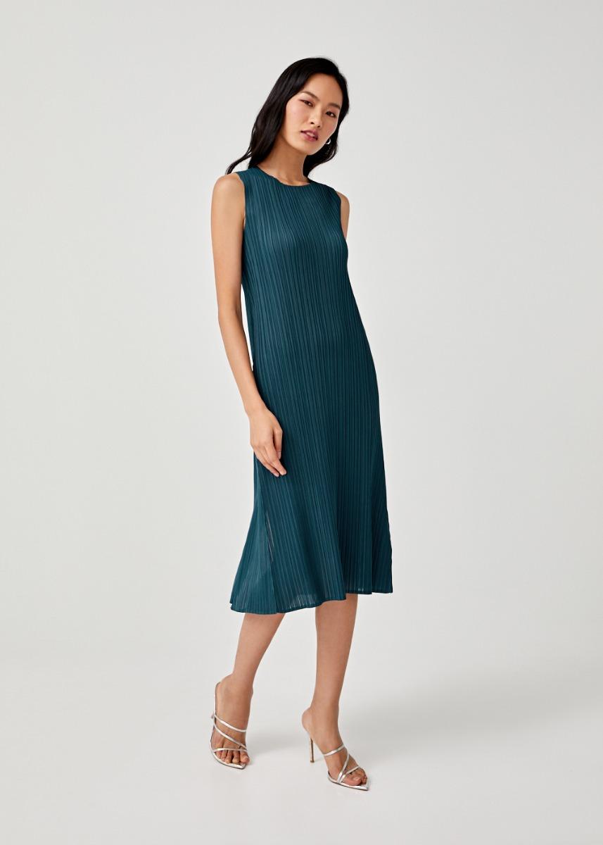 Eva Pleated Midi Dress