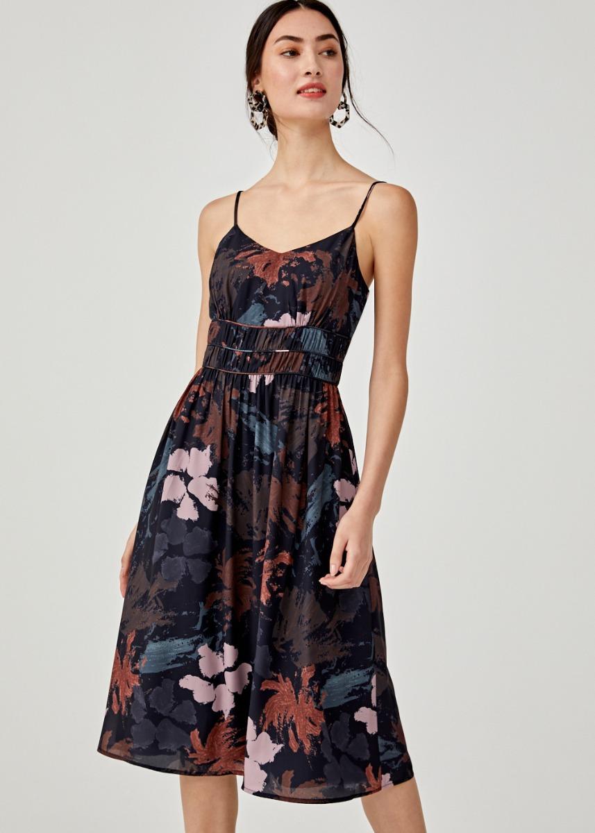 Savannah Printed Midi Dress in Floral Symphony