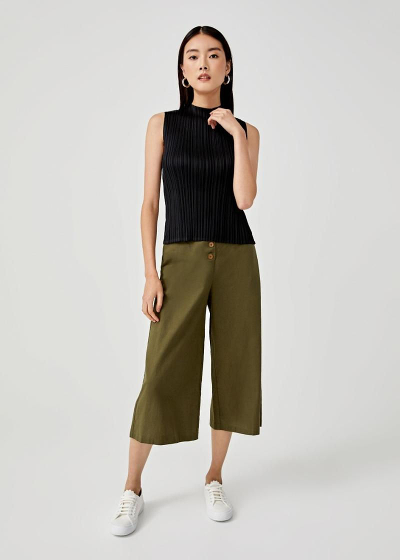 Cassie Pleated High Neck Top
