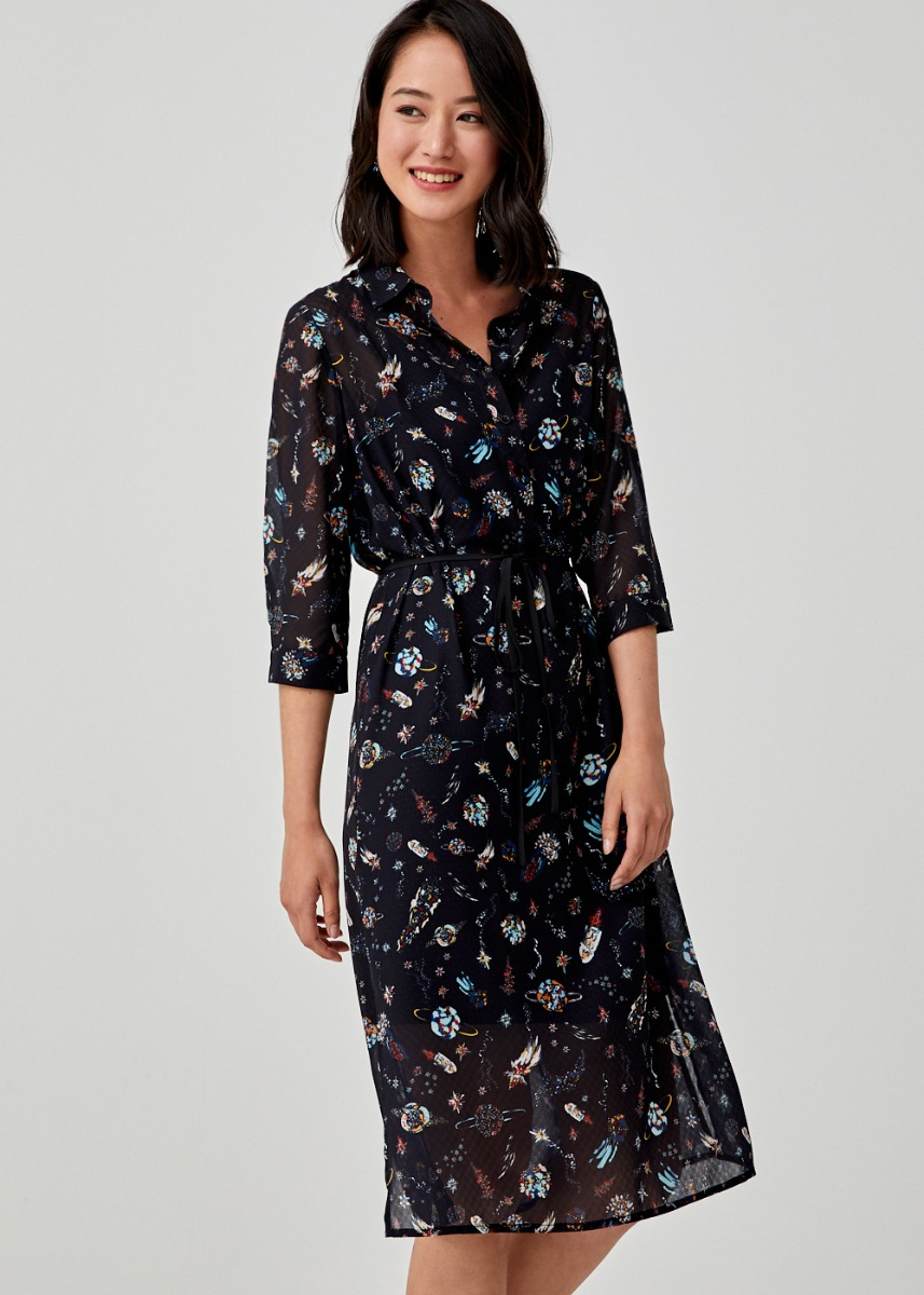 Florella Midi Shirt Dress in Space Odyssey