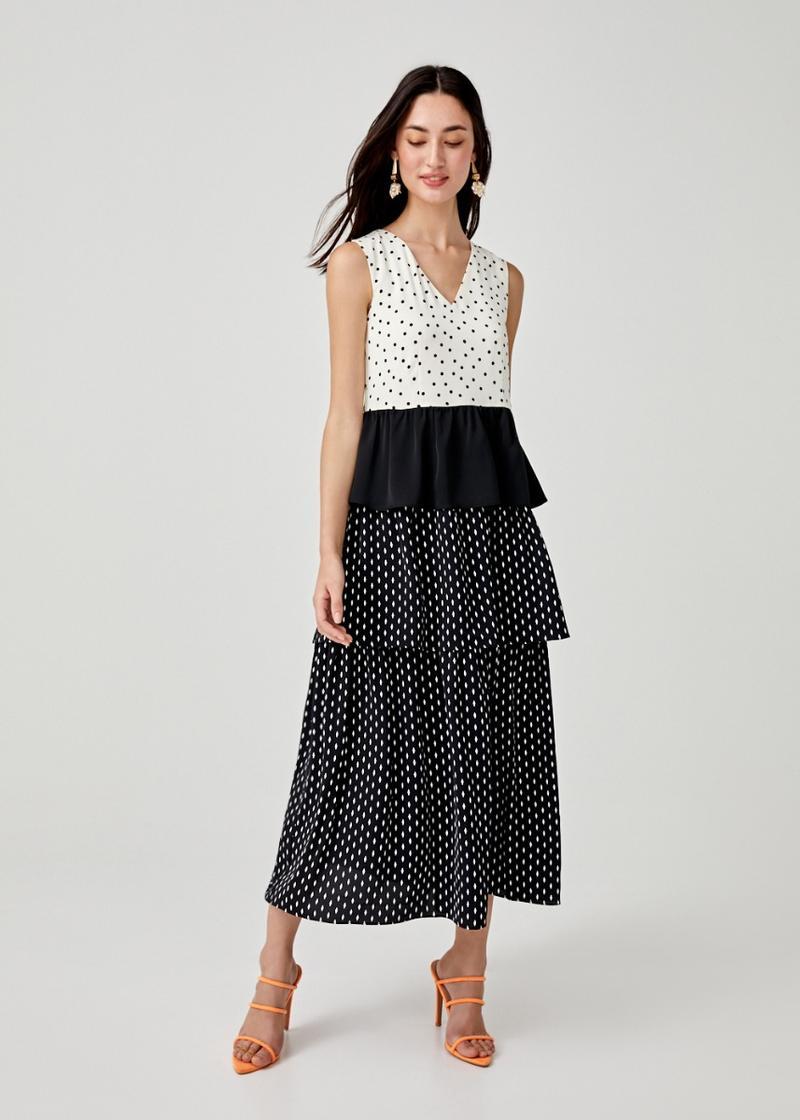 Faith Tiered Mixed Print Dress