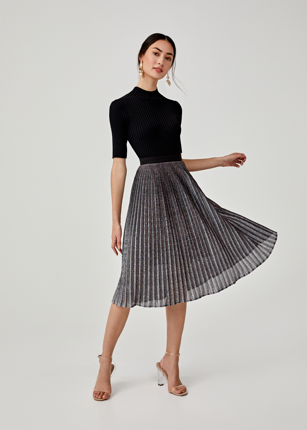 Celena Pleated A-line Midi Skirt