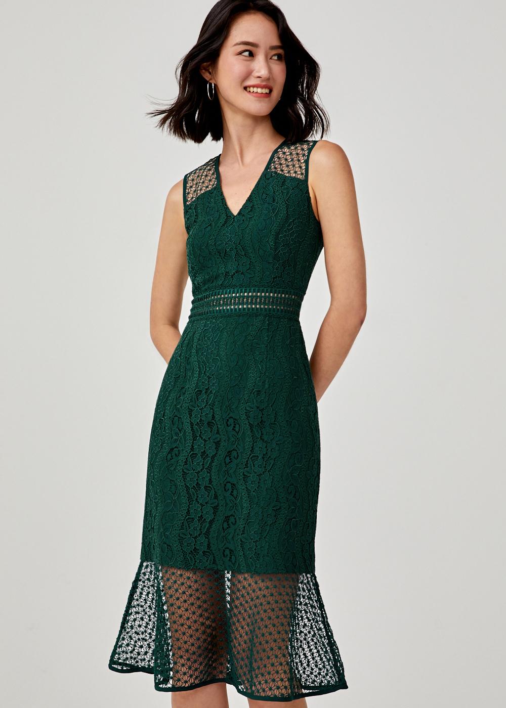 Alessa Lace Trim Midi Dress