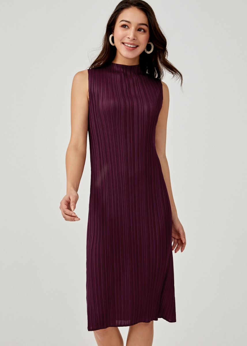 Cynthia Pleated High Neck Dress