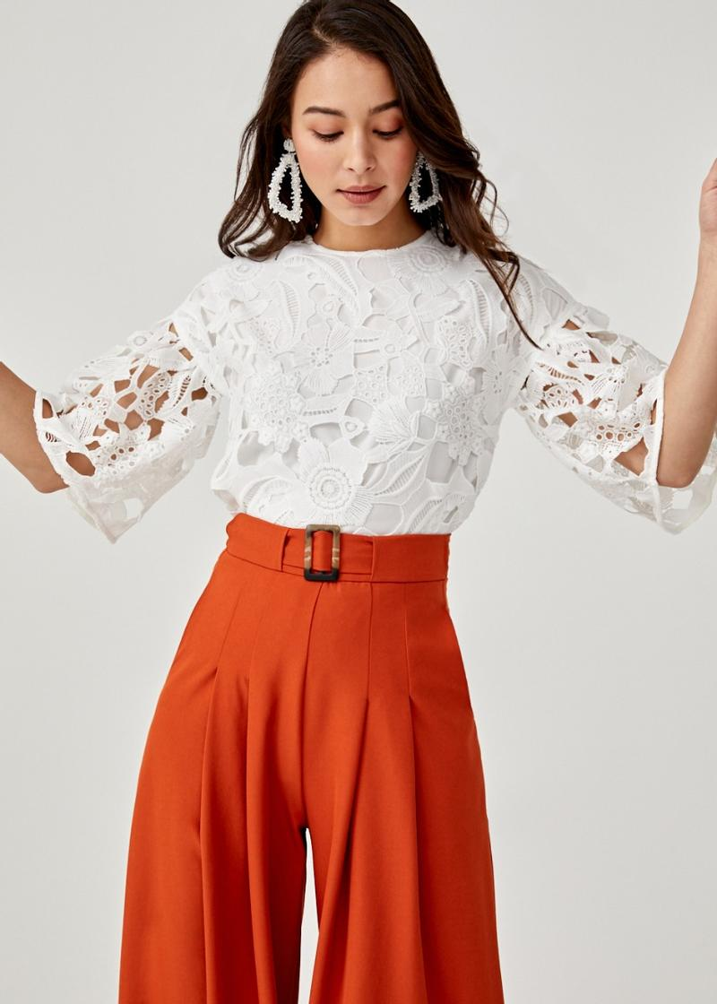 Andela Lace Flare Sleeve Top