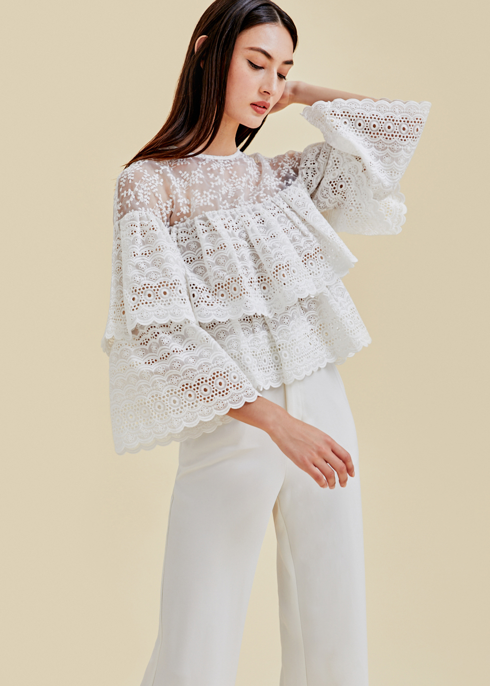 Everett Tiered Broderie Anglaise Top