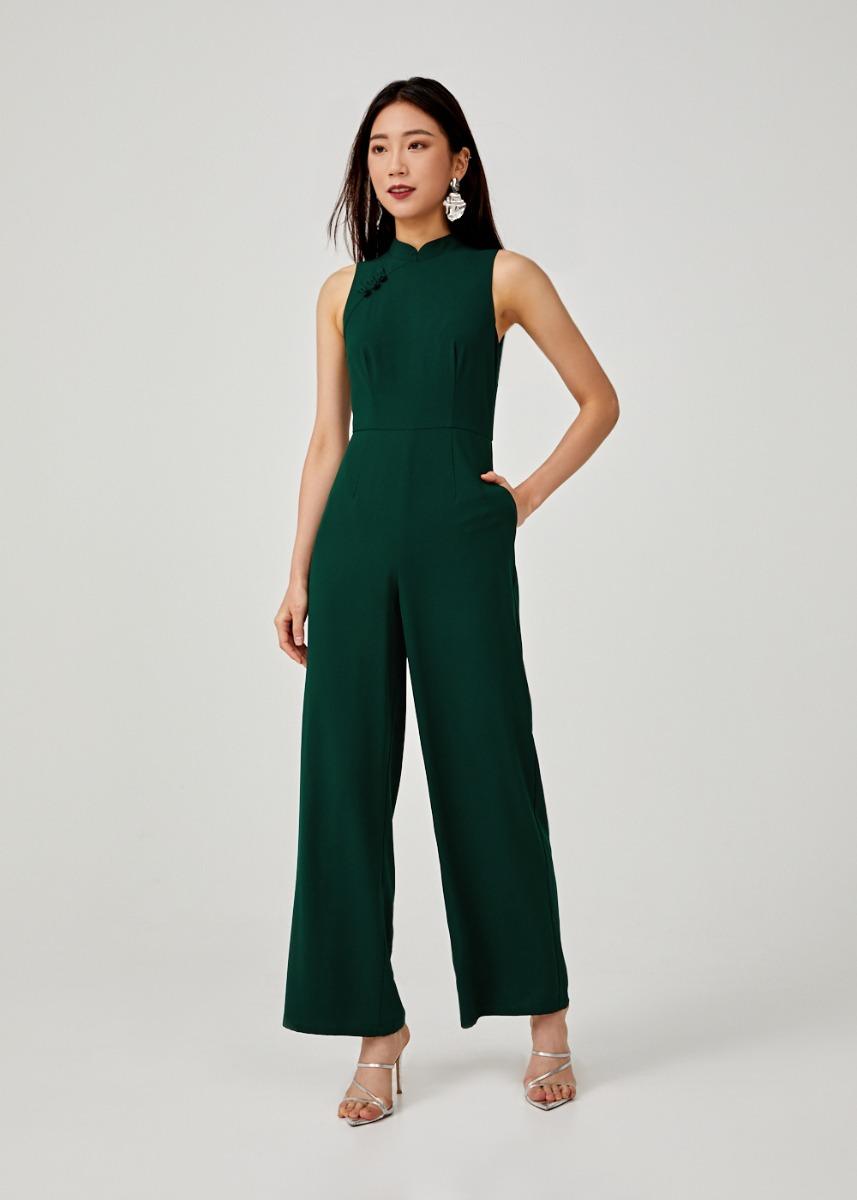 Esmena Mandarin Collar Wide Leg Jumpsuit