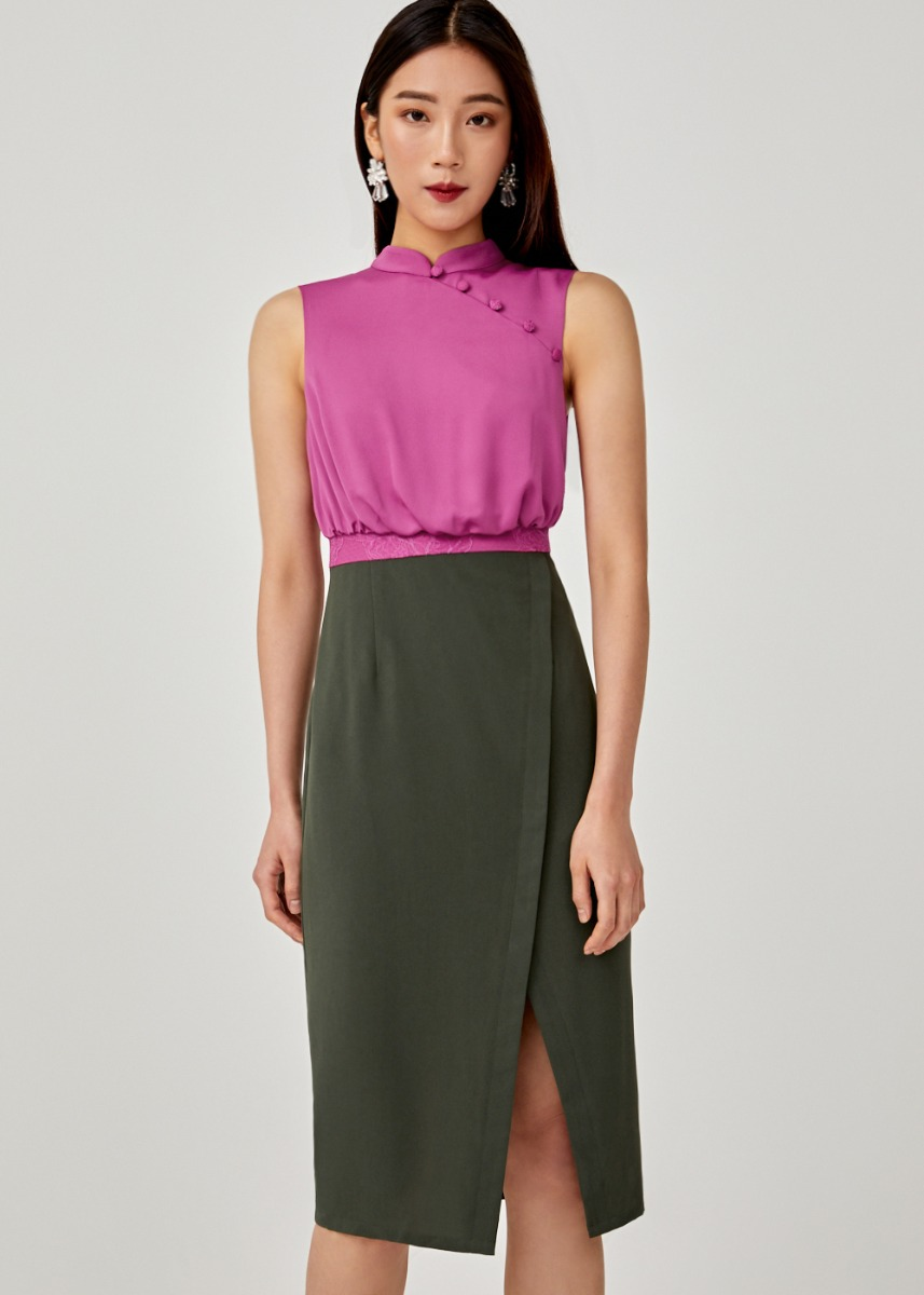 Enyana Mandarin Collar Midi Dress
