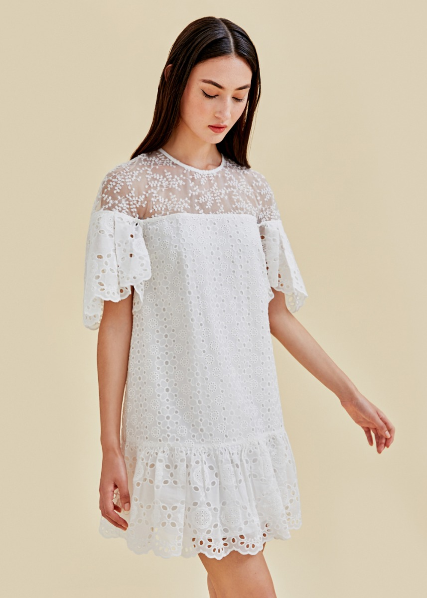 Dimitra Broderie Anglaise Ruffle Hem Dress