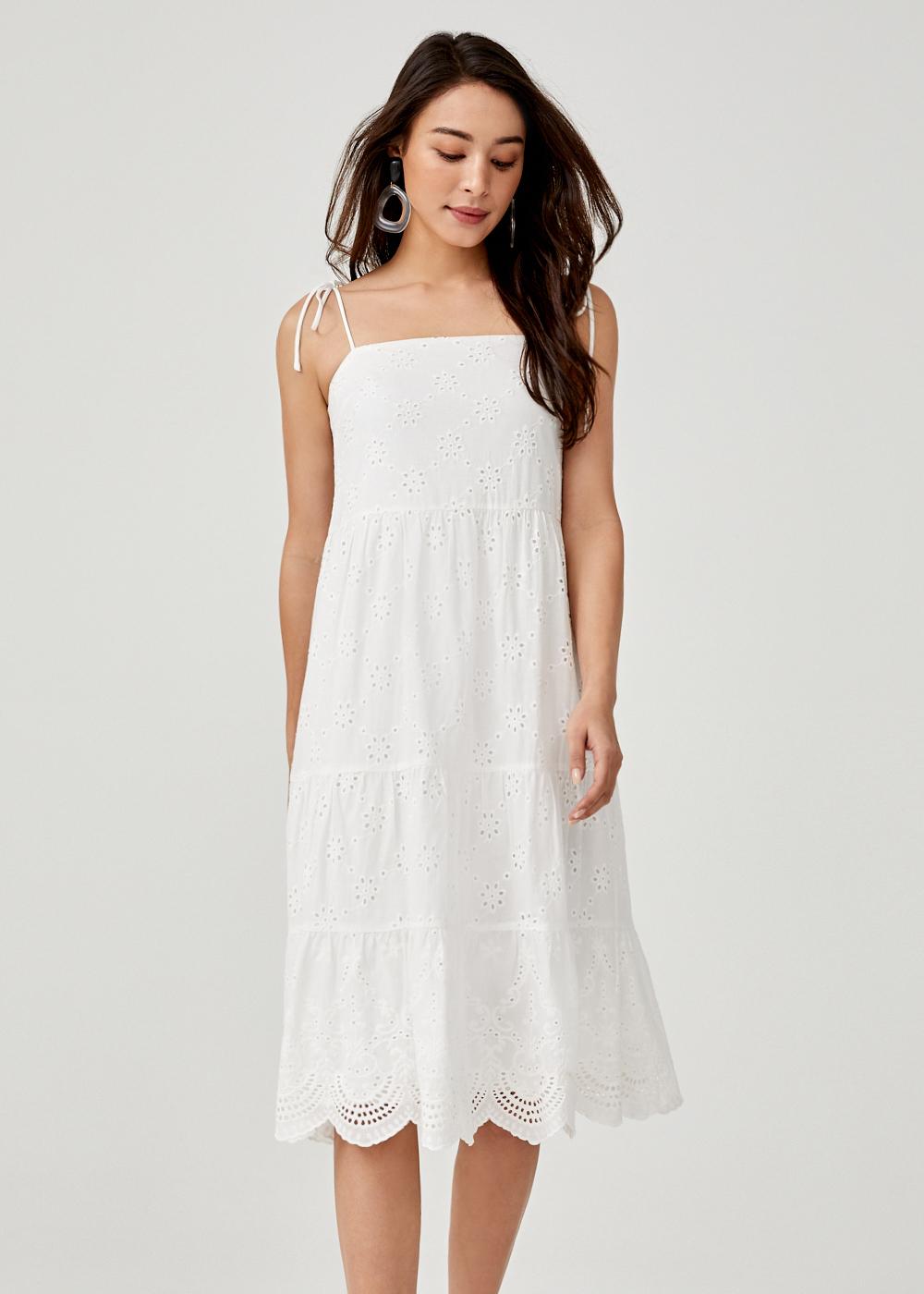 Elpida Broderie Anglaise Ruffle Hem Dress