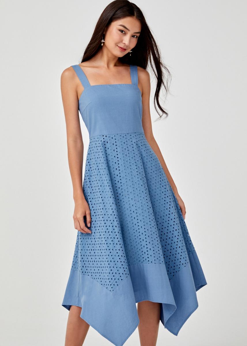 Evlalia Broderie Anglaise Midi Dress