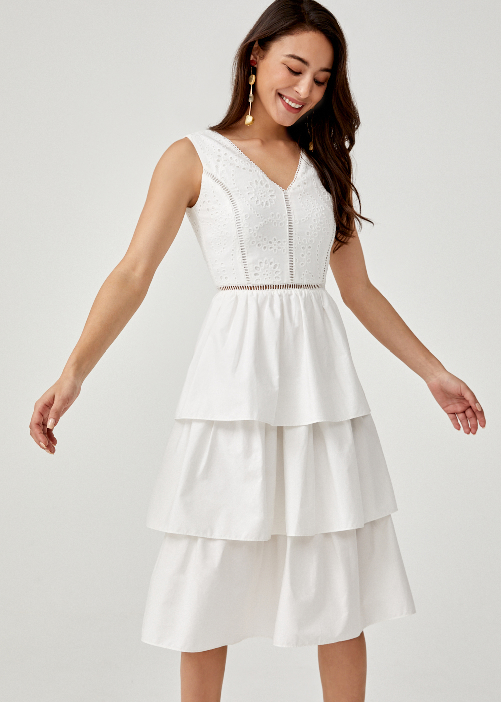 Aleksia Tiered Broderie Anglaise Midi Dress