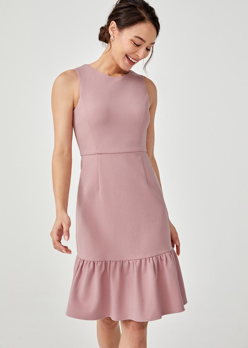 Roselyn Ruffle Hem A-line Dress