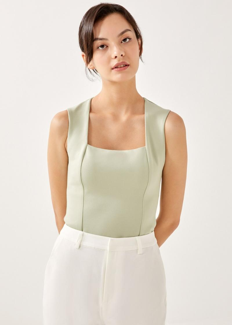 Allegra Square Neck Fitted Top