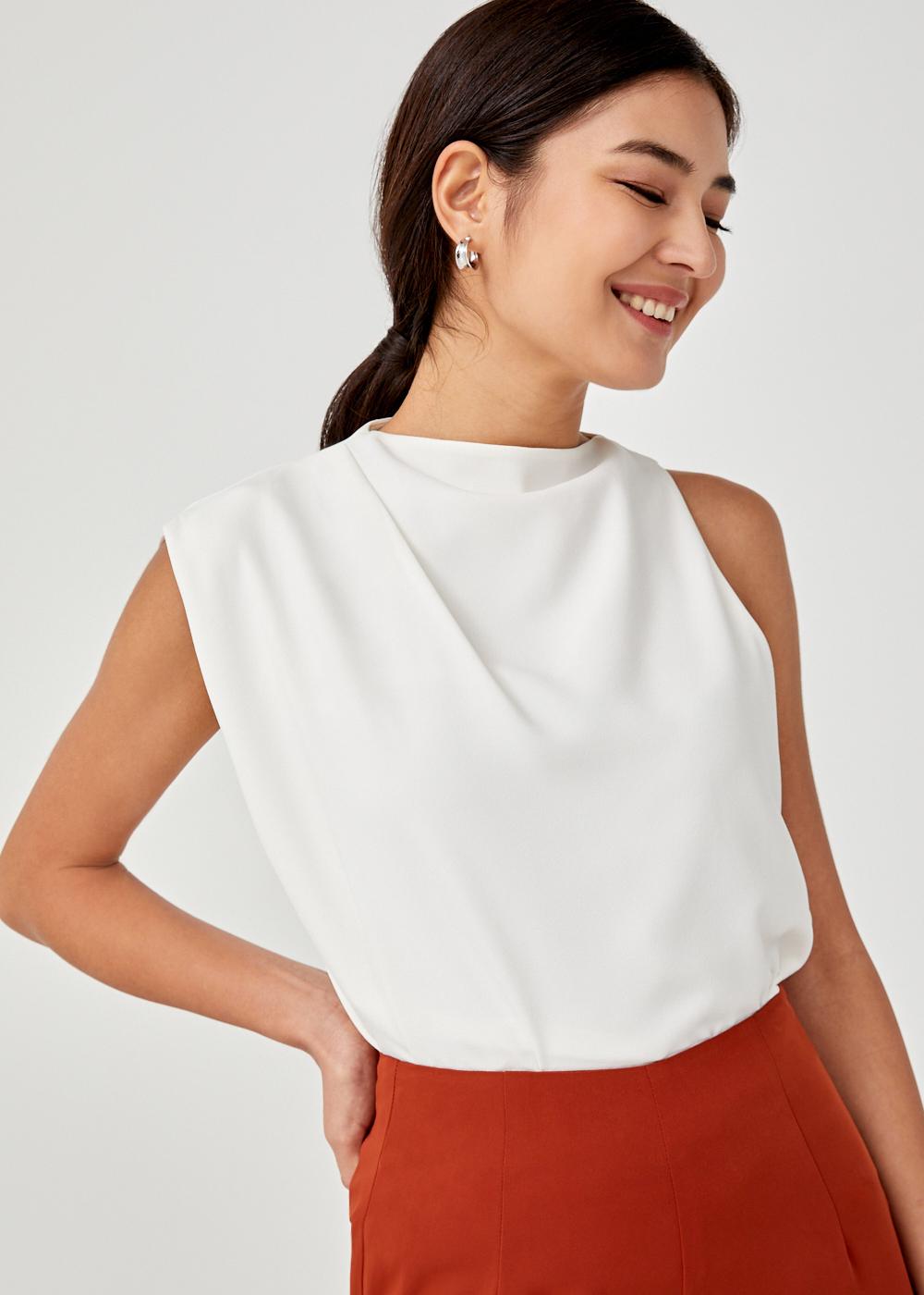 Talya Asymmetrical Drape Blouse