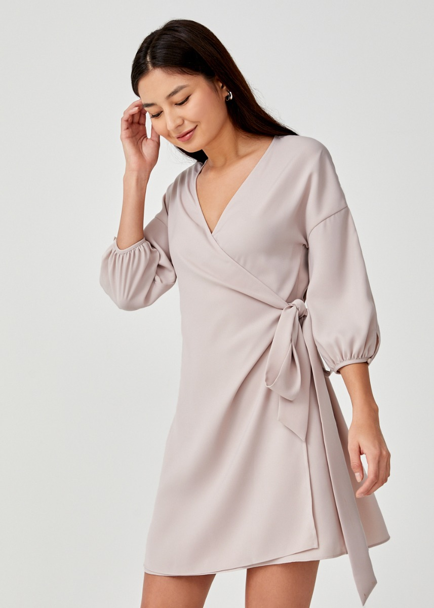 Kavia Multi-Way Puff Sleeve Wrap Dress
