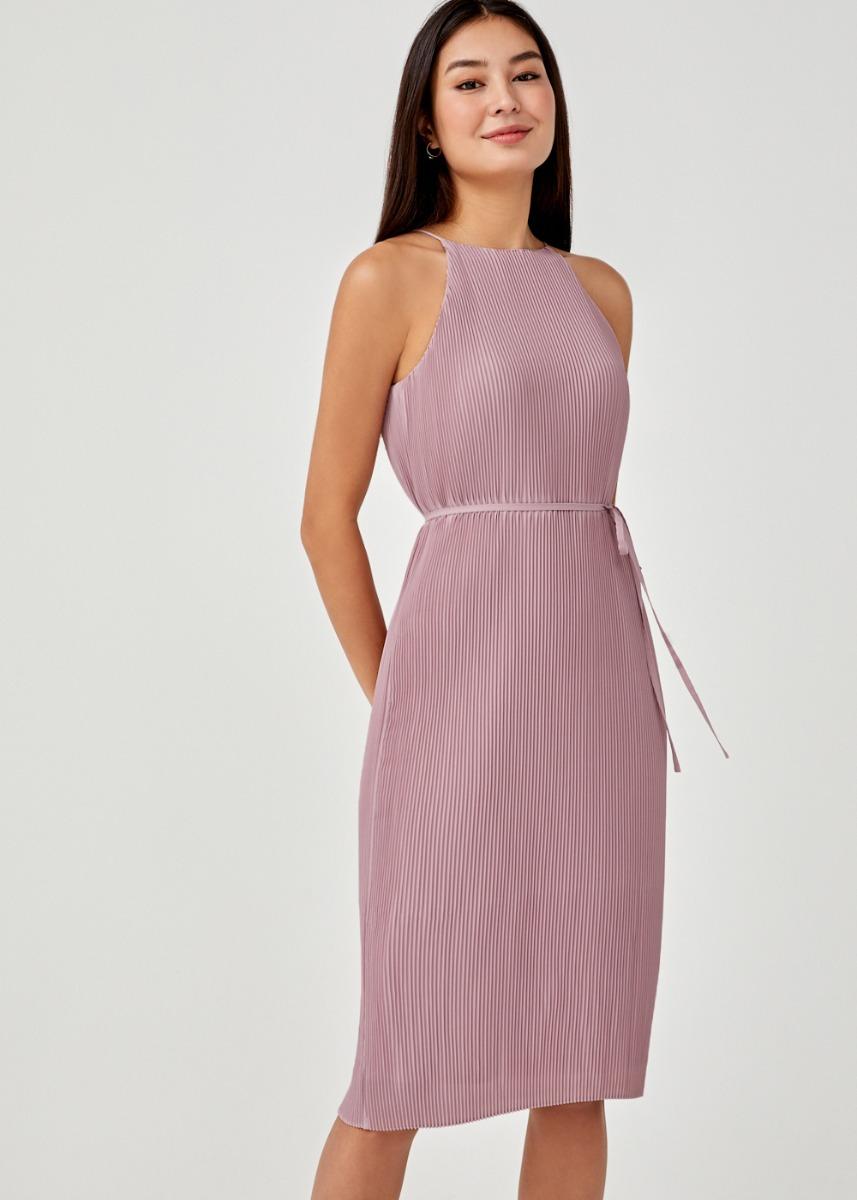 Sitara Micro Pleat Halter Neck Midi Dress