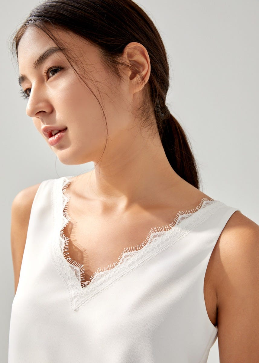 Vittoria Lace Trim Camisole Top