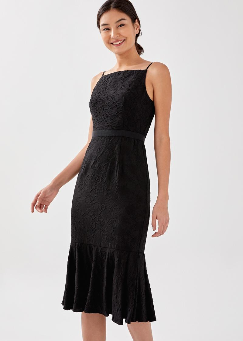 Jiniya Textured Ruffle Midi Dress