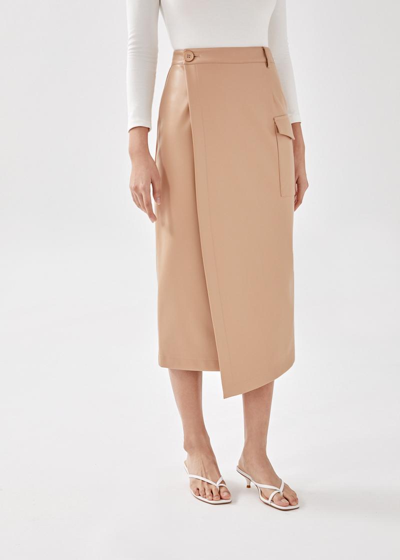 Brooke Asymmetrical Pleather Wrap Skirt