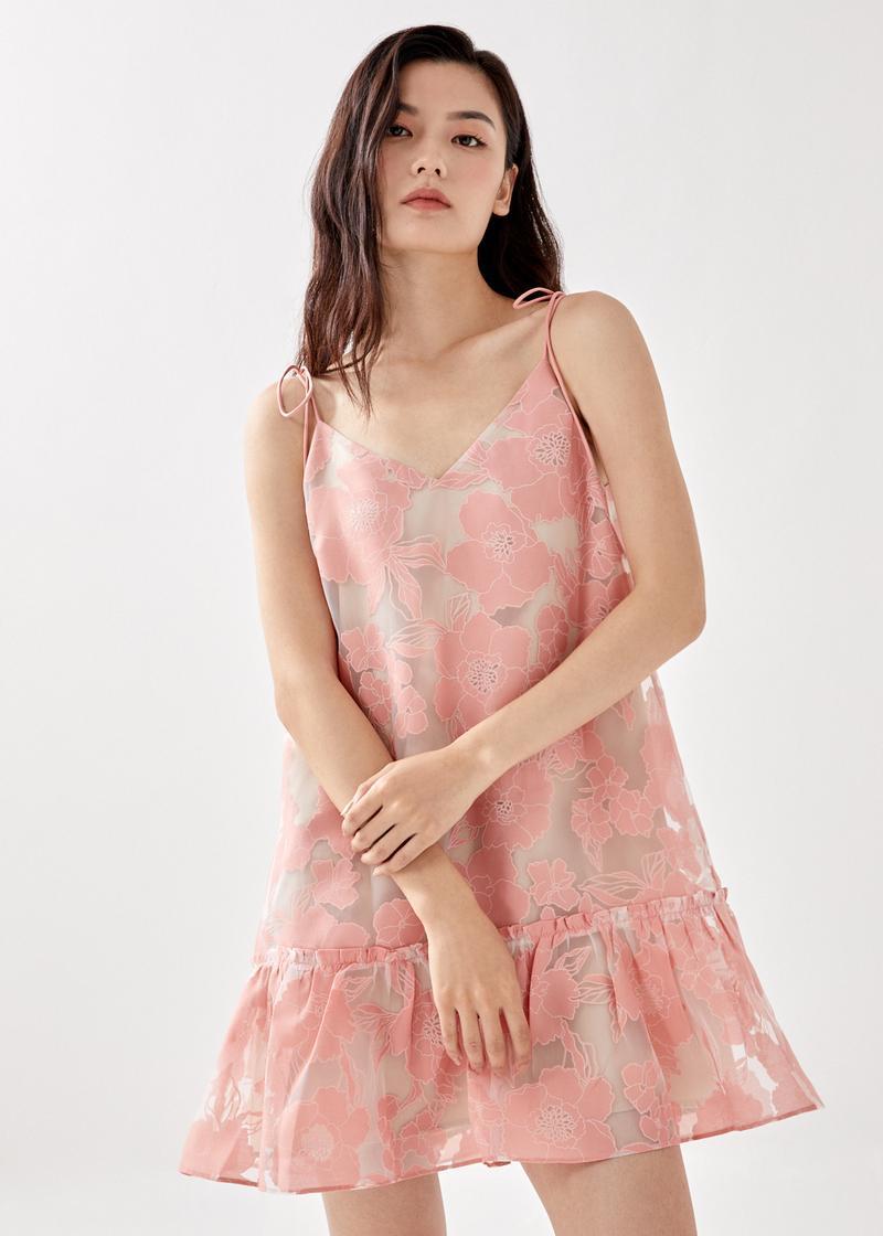 Sloan Ruffle Hem Dress in Spirited Blooms Jacquard