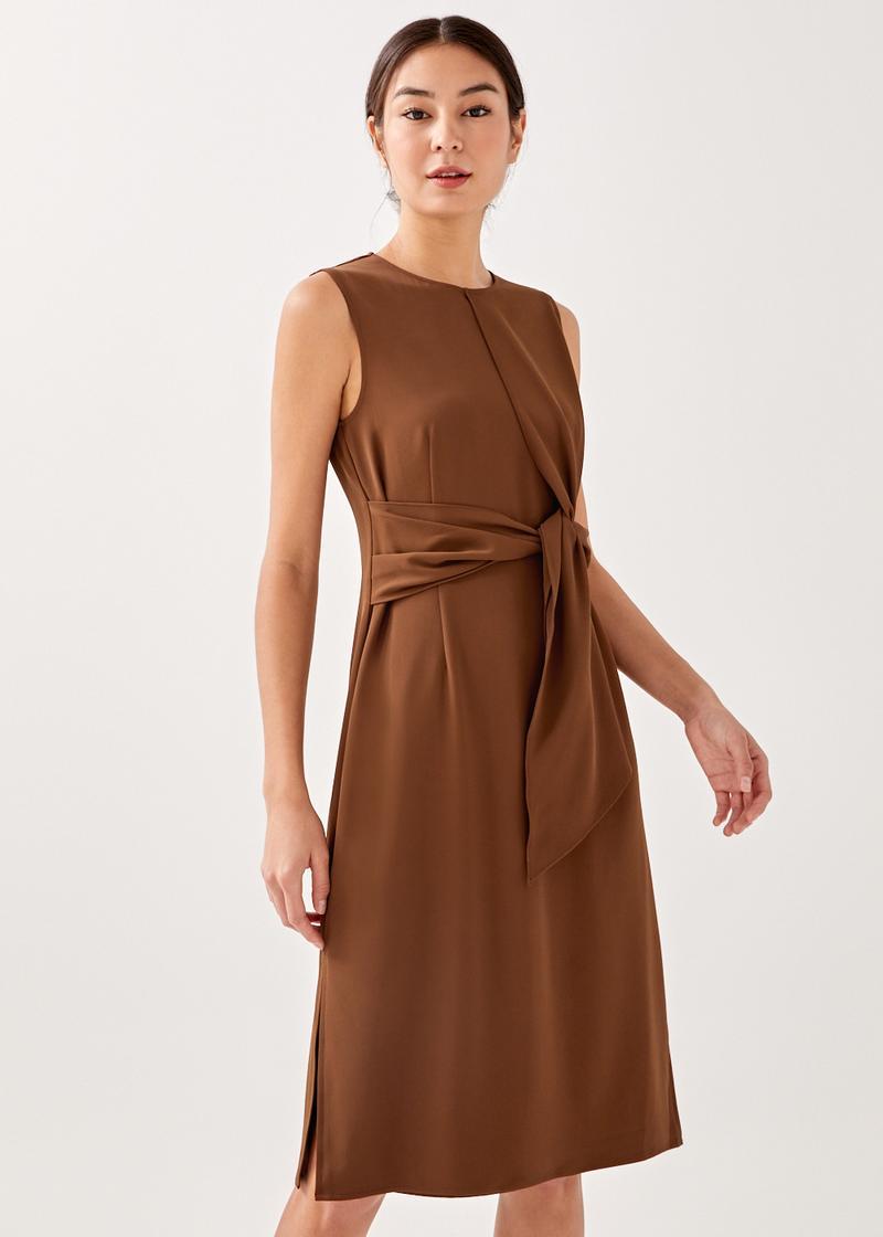 Velvetta Sash Column Midi Dress