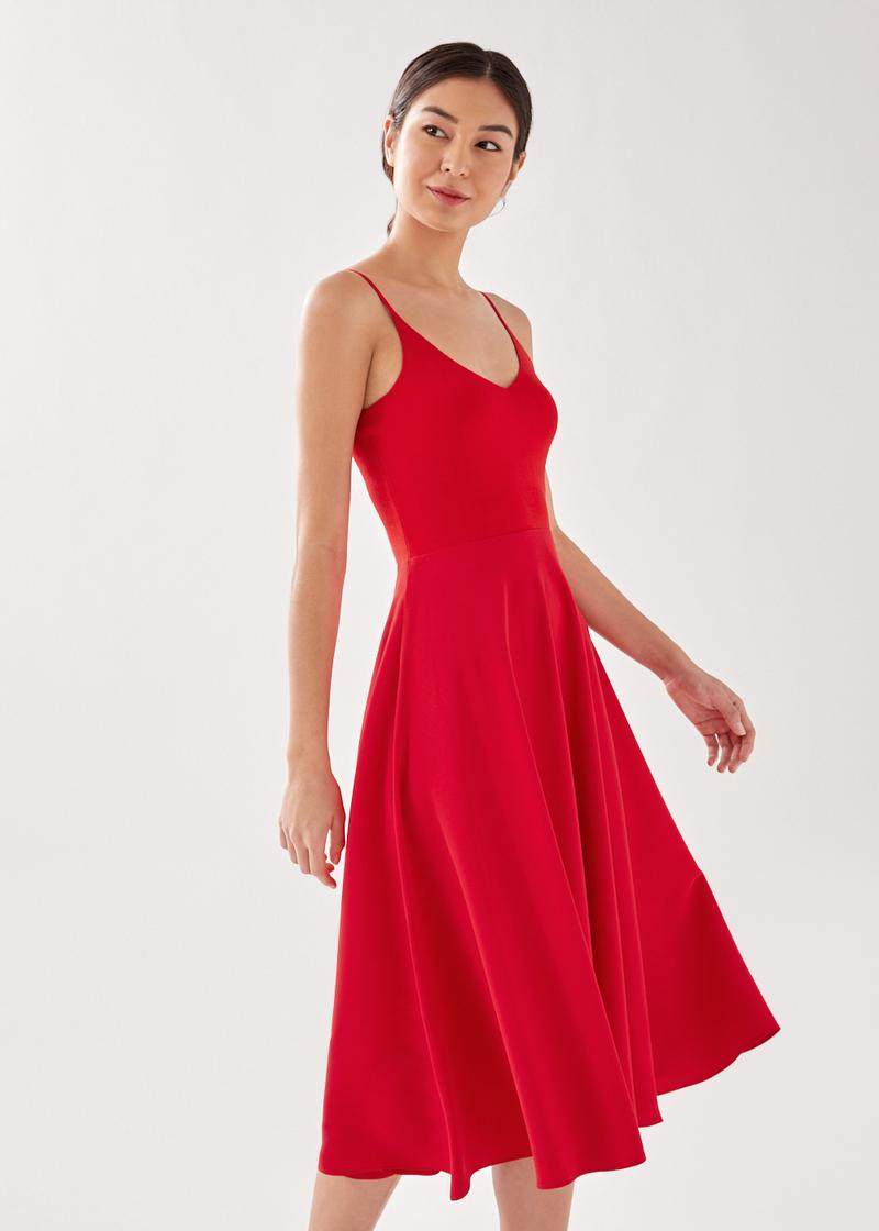 Astorie Contrast Knit and Crepe Midi Dress