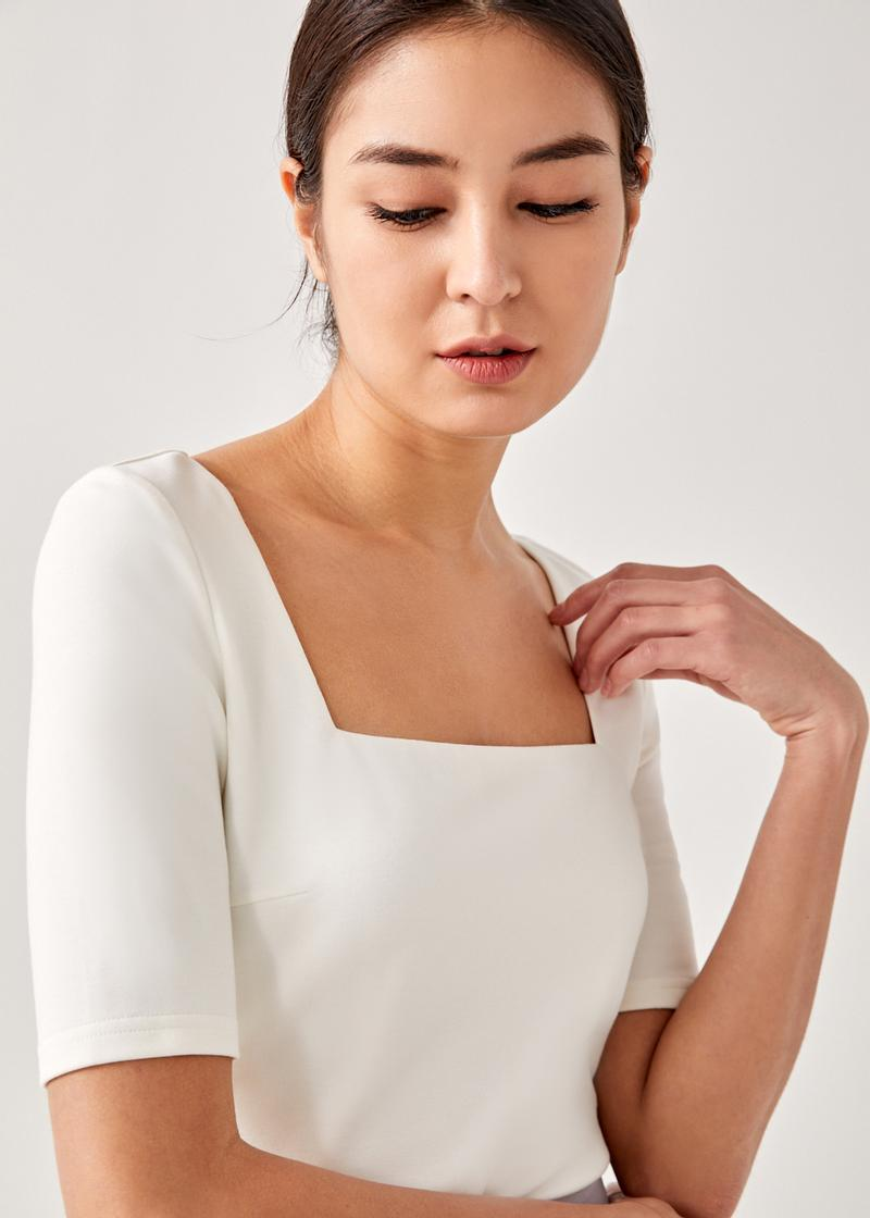 Tegan Fitted Square Neck Top