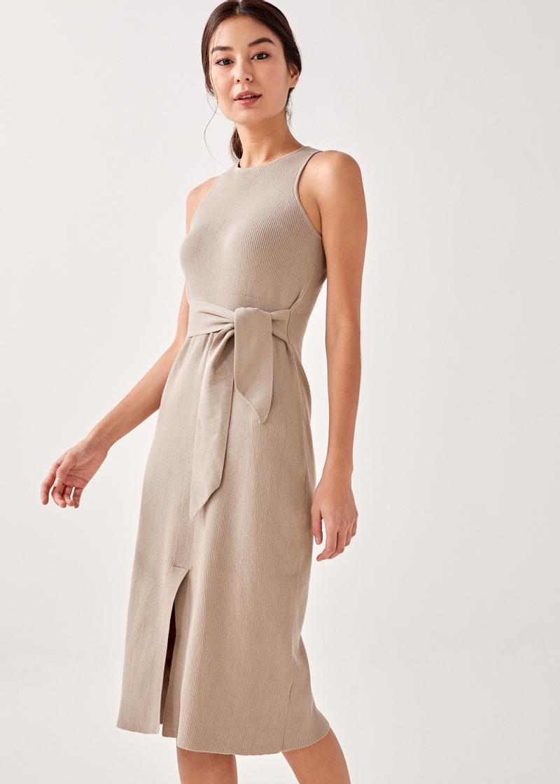 Olym Ribbed Knit Midi Dress