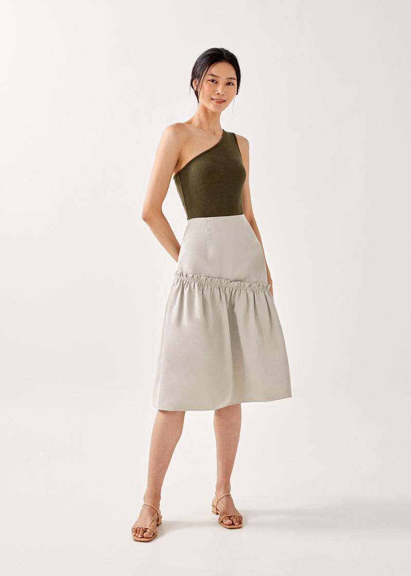 Aubriya Ribbed Asymmetrical Bodysuit