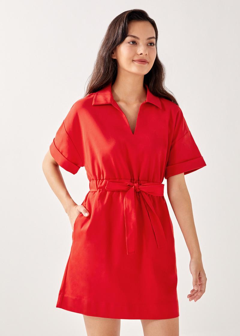 Becky Elastic Belted Shirt Dress