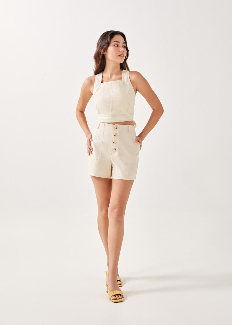 Fawn Padded Tie Back Top