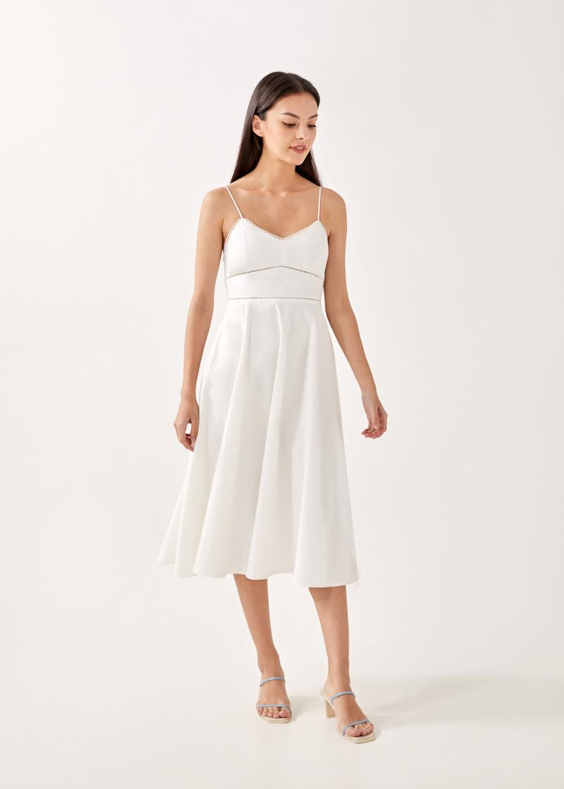 Evalina Ladder Trim Midi Dress