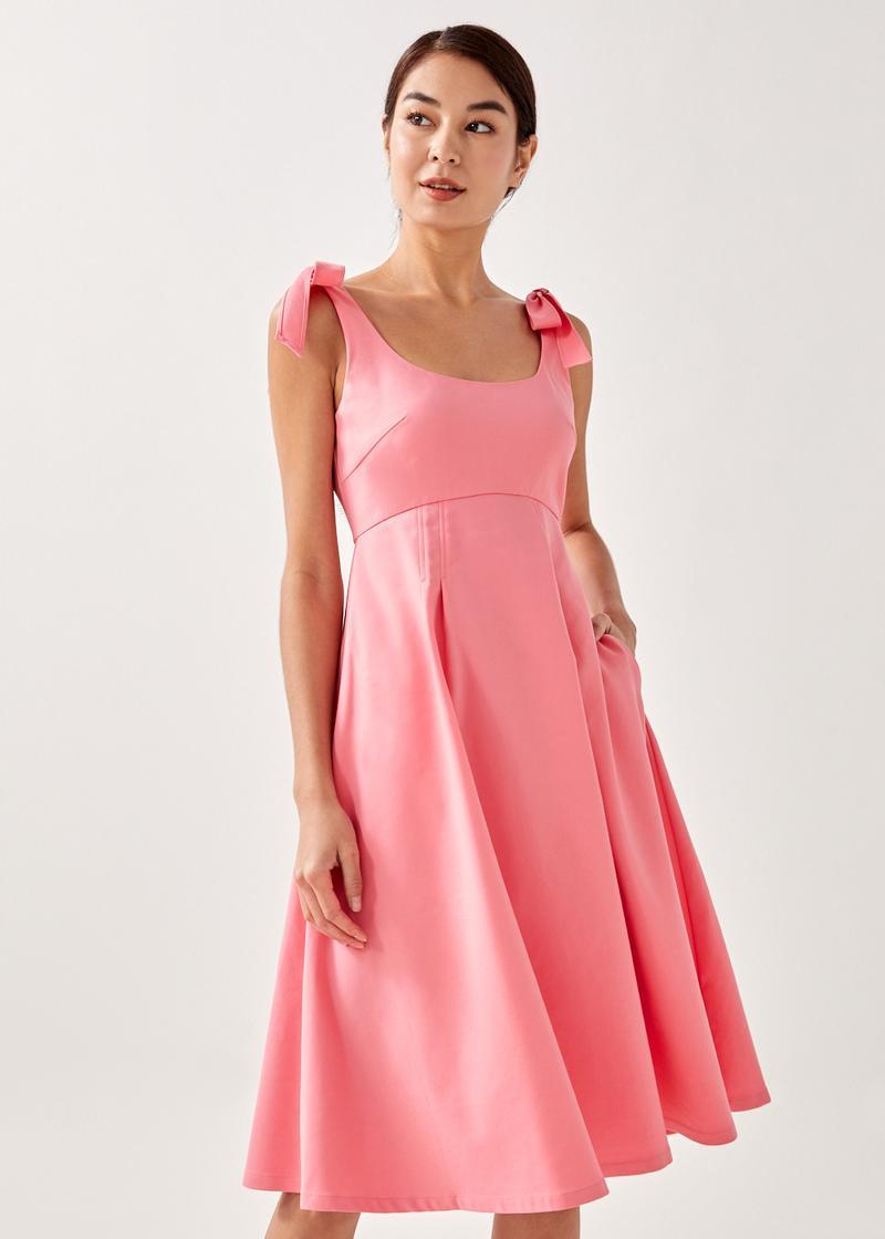 Keara Tie Shoulder Babydoll Dress