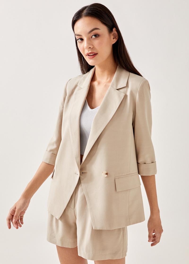 Melita Textured Shoulder Padded Oversized Blazer