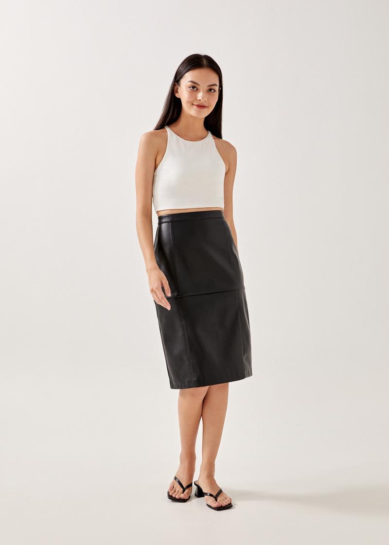 Rory Panelled Pleather Midi Skirt
