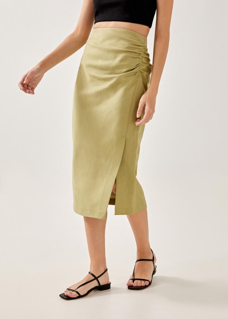 Jade Linen Side Ruched Skirt