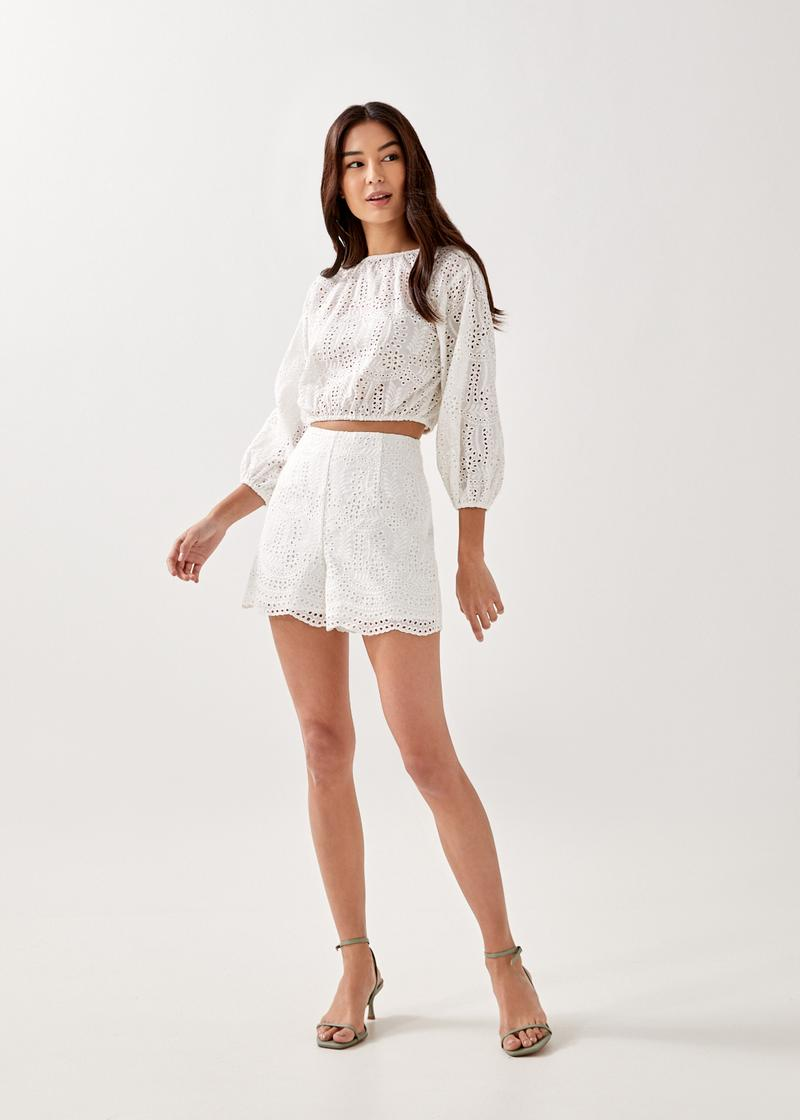 Teona Broderie Tailored Shorts