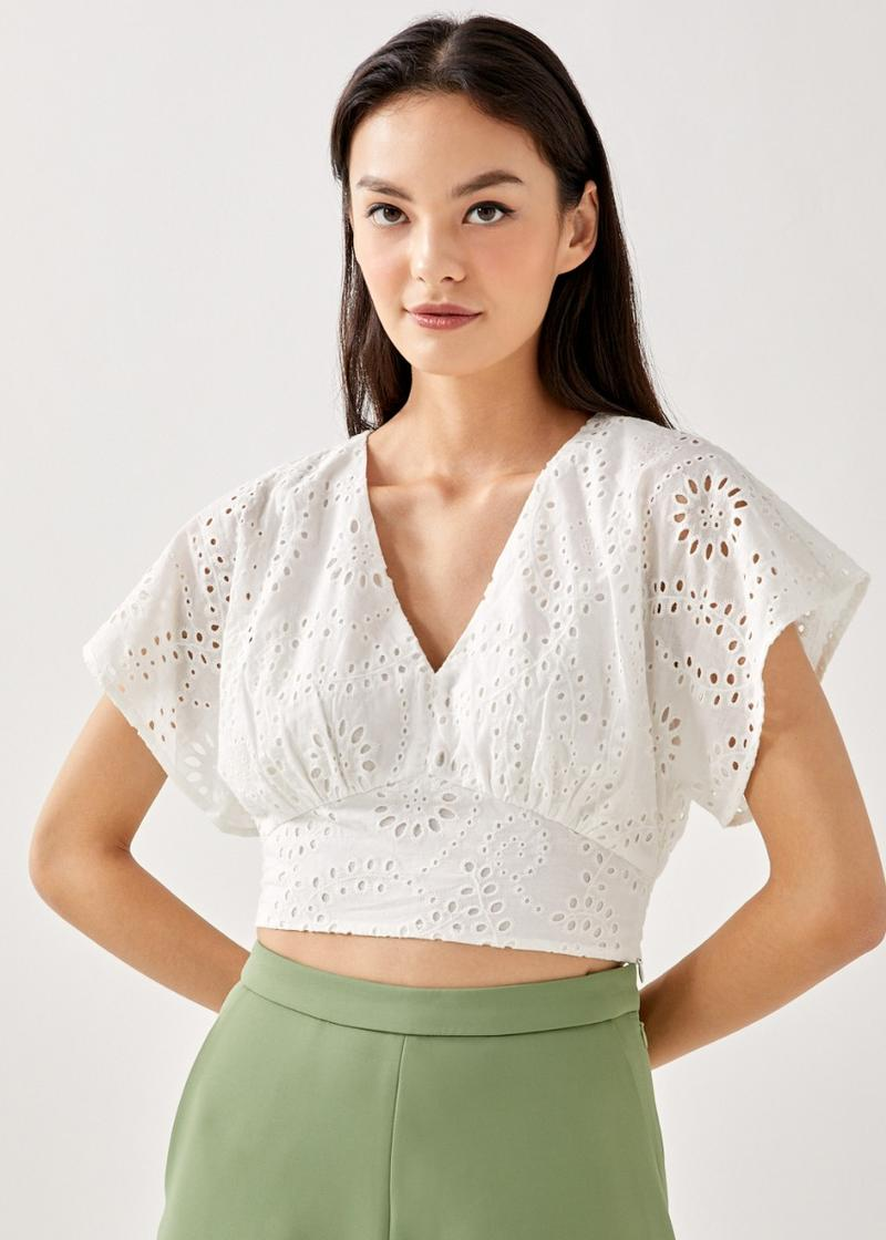 Lithany Broderie Smocked Top