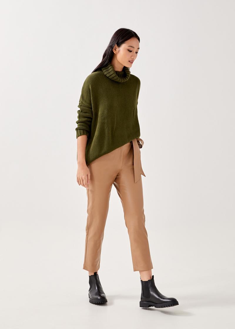 Mindi Pleather Peg Leg Trousers