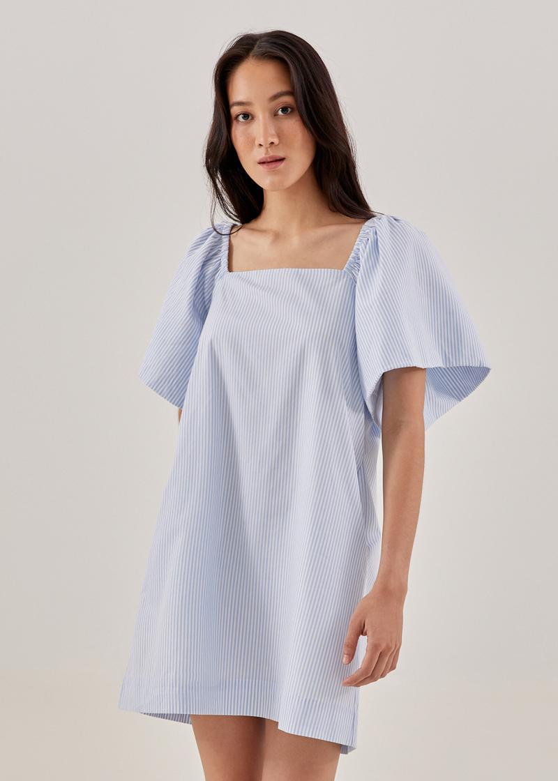 Lylah Pinstripe Trapeze Dress