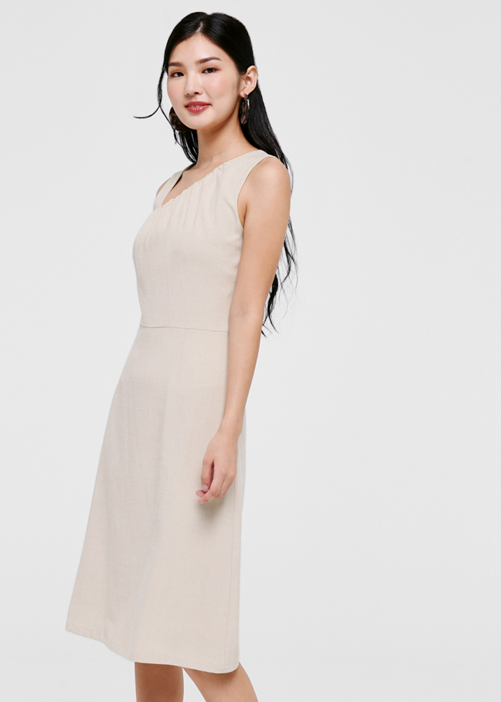 Loralei Asymmetrical Neckline Midi Dress