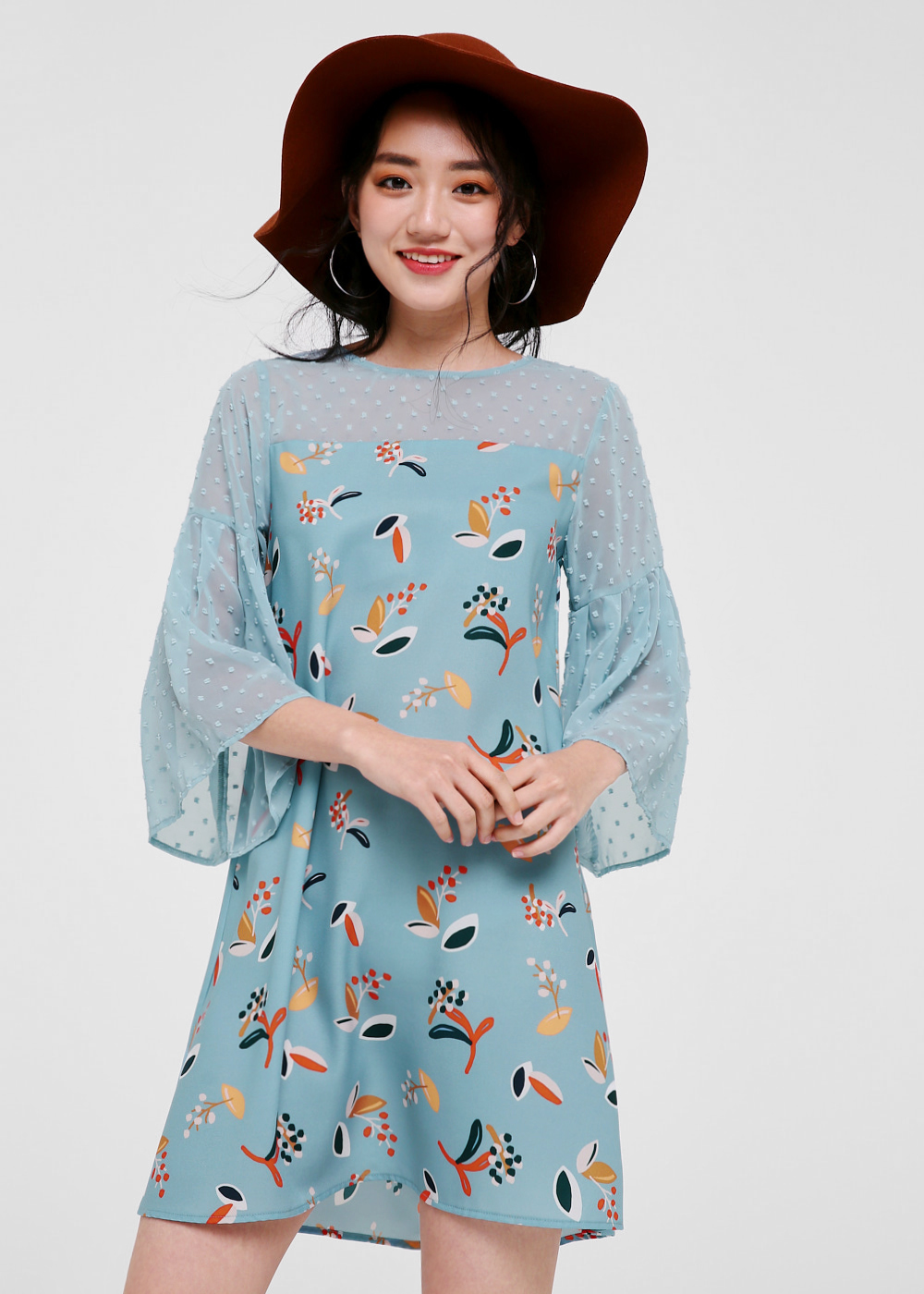 Kania Printed Dobby Dot Dress