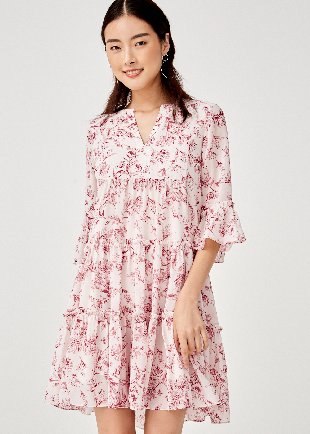 Felicia Ruffle Hem Swing Dress