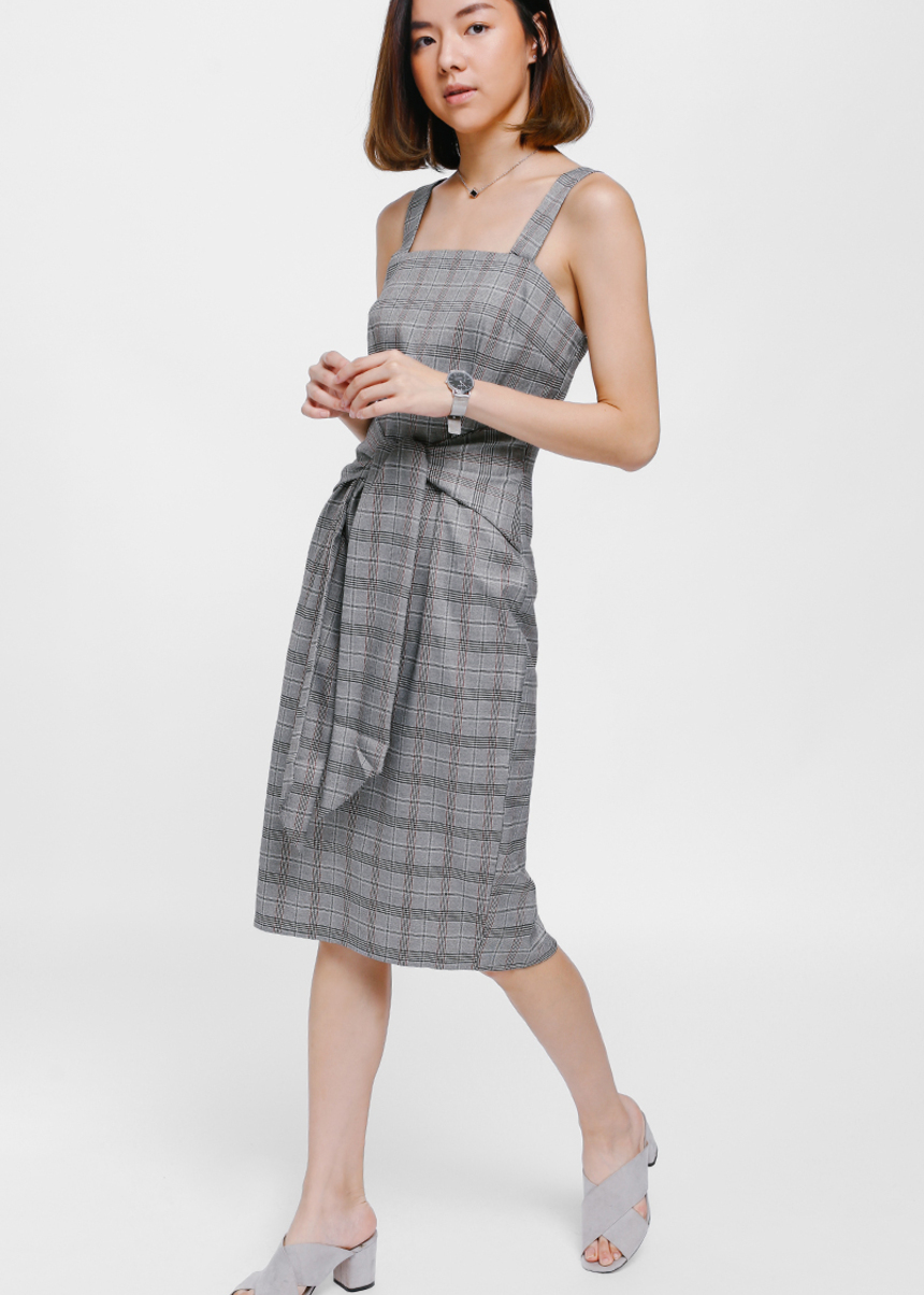 Prischa Tweed Sash Tie Midi Dress
