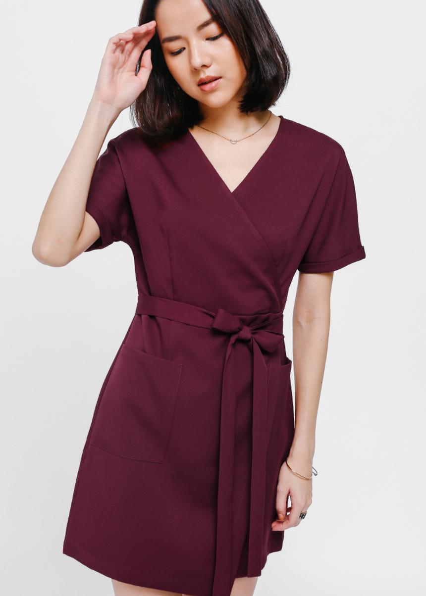 Deqash Sash Wrap Pocket Dress