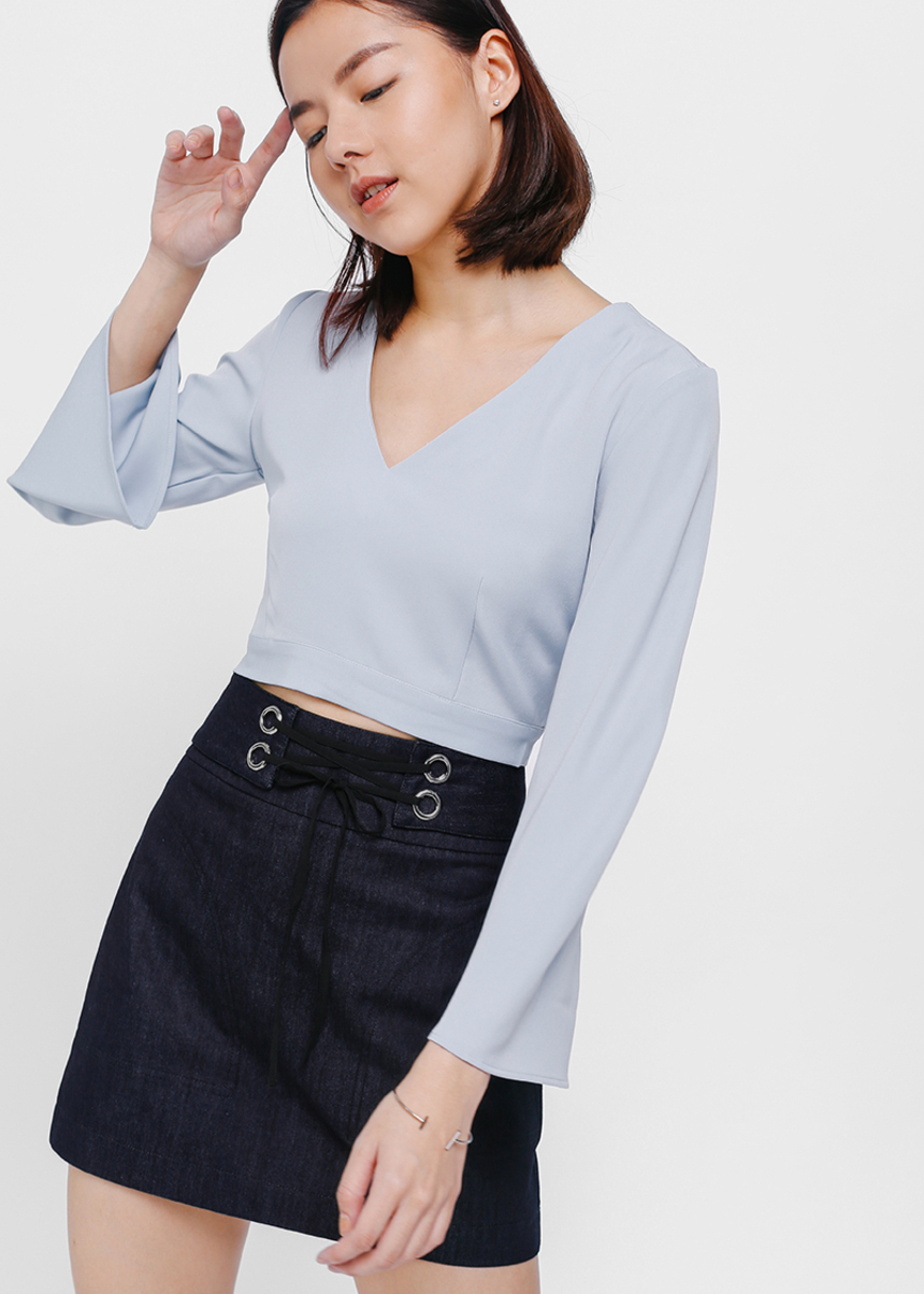 Avlene Bell Sleeve Tie Back Crop Top